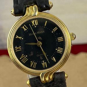 Vintage Original Hugo Max Gold Black Leather Watch